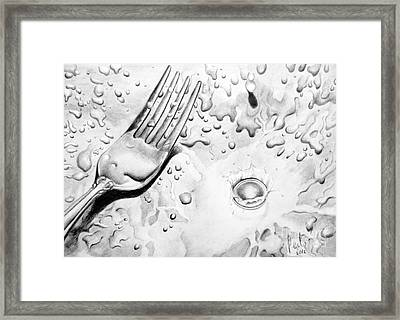 Fork And Drops Framed Print