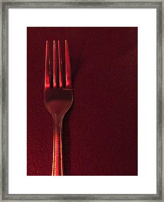 Fork In The Red Framed Print by Guy Ricketts