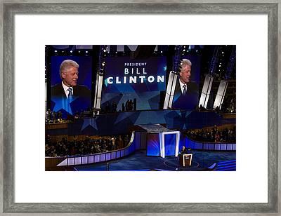 Former President Bill Clinton Addresses Framed Print by Everett