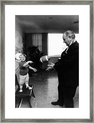 Former President Lyndon Johnson Plays Framed Print by Everett
