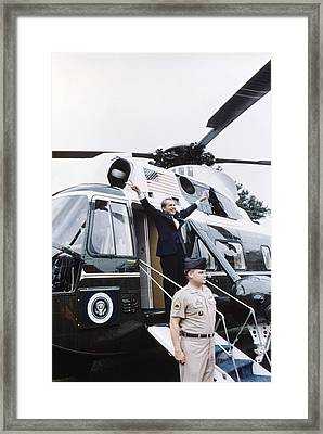 Former President Richard Nixon Boards Framed Print