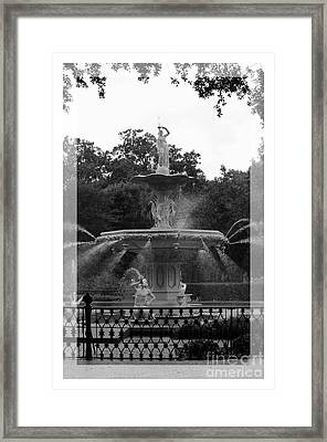 Forsyth Park Fountain - Black And White Framed Print by Carol Groenen