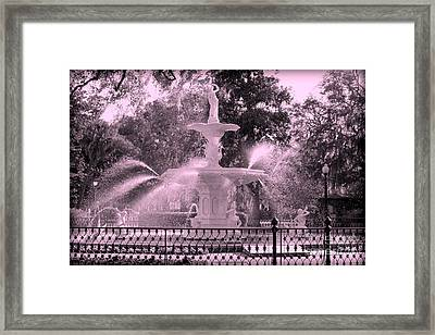 Forsyth Park Fountain In Pink Framed Print by Carol Groenen