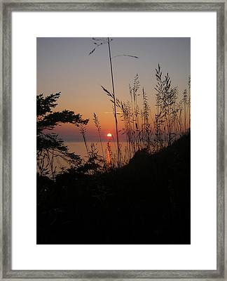 Fort Ebey Sunset Framed Print by Cheryl Perin