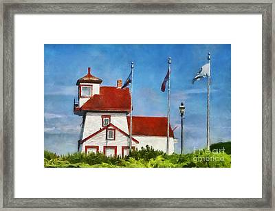 Fort Point Lighthouse In Liverpool Nova Scotia Canada Framed Print by Mary Warner