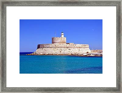 Fort Saint Nicholas In Rhodes. Greece. Framed Print