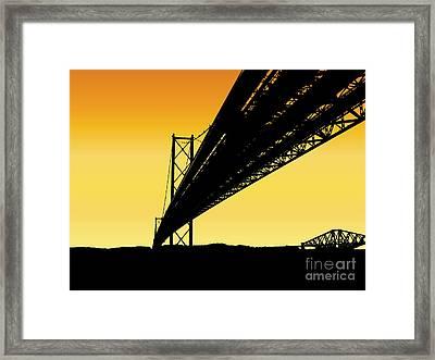 Forth Bridges Silhouette Framed Print