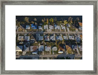 Foundation Slabs Where Flooded Houses Framed Print by Tyrone Turner