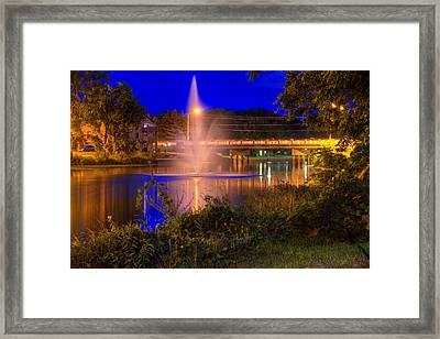 Fountain And Bridge At Night Framed Print