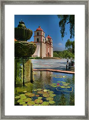 Fountain And Mission Framed Print