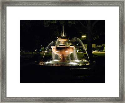 Fountain At Night Framed Print by Dennis Leatherman