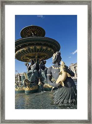 Fountain At Place De La Concorde. Paris. France Framed Print by Bernard Jaubert