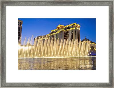 Fountains Of Bellagio In Front Of Caesar's Palace Hotel And Casi Framed Print by Andre Babiak