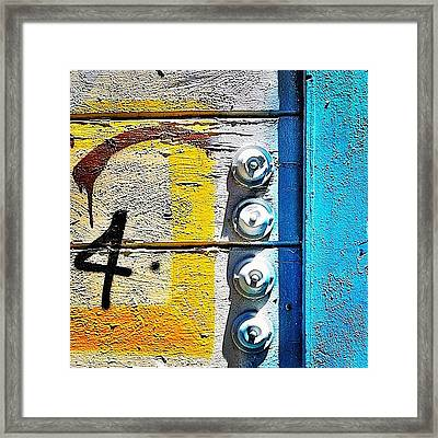 Four Doorbells Framed Print by Julie Gebhardt