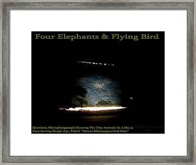 Four Elephants And Flying Bird  Framed Print by Phillip H George