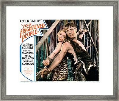 Four Frightened People, Claudette Framed Print by Everett