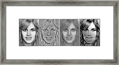 Four Interpretations Of Hilary Swank Framed Print by J McCombie