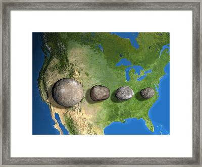 Four Largest Asteroids, Scale Artwork Framed Print by Chris Butler