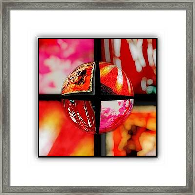Four Of Red Abstract Framed Print