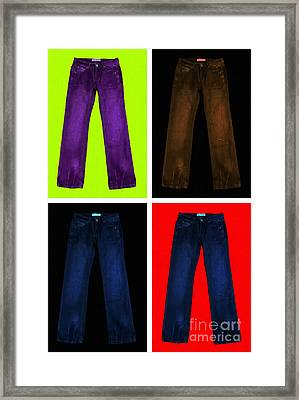 Four Pairs Of Blue Jeans - Painterly Framed Print