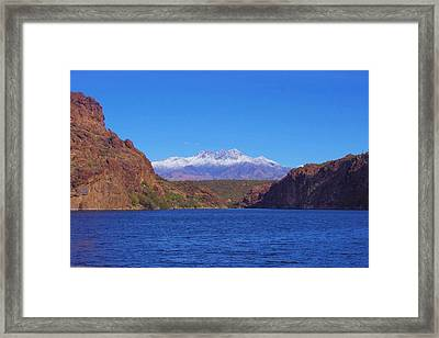Framed Print featuring the photograph Four Peaks In Winter by David Rizzo
