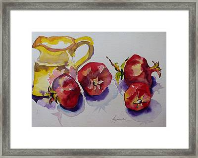 Four Pomegranates Framed Print by Suzanne Willis