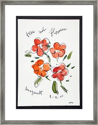 Four Red Flowers Amagansett Framed Print by David Rufo