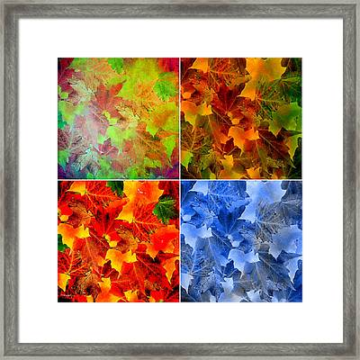 Four Seasons In Abstract Framed Print by Lourry Legarde