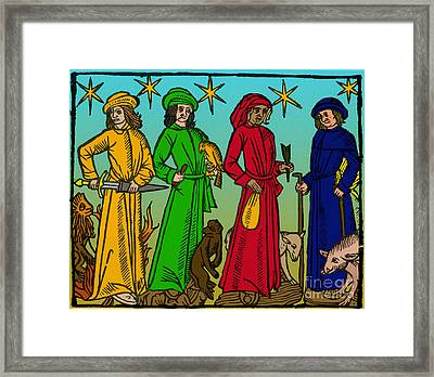 Four Temperaments, Medieval Woodcut Framed Print by Science Source