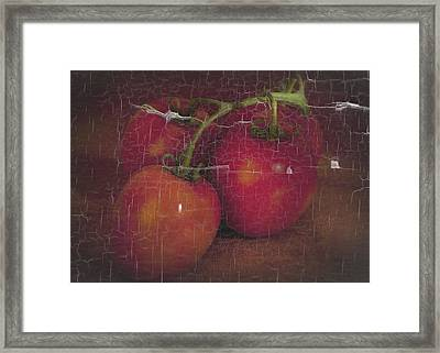 Framed Print featuring the photograph Four Tomatoes Crackle by James Bethanis