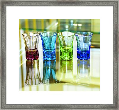 Four Vodka Glasses Framed Print