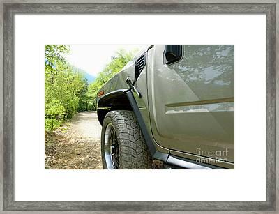 Four Wheels Drive Car On Mountain Dirt Framed Print