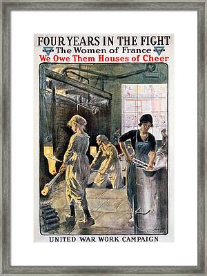 Four Years In The Fight. Women Working Framed Print by Everett