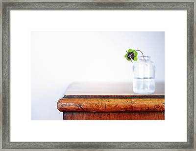 Fourleaf Cloverin Vase On Dresser Framed Print by Elisabeth Schmitt