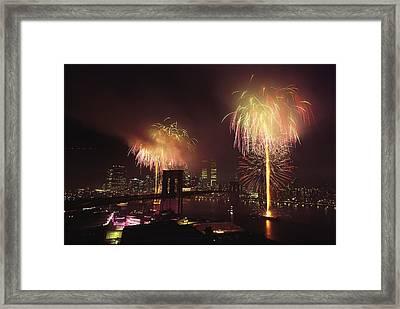 Fourth Of July Fireworks Over New York Framed Print by Medford Taylor