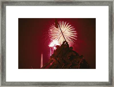 Fourth Of July Fireworks Over The Iwo Framed Print by Medford Taylor