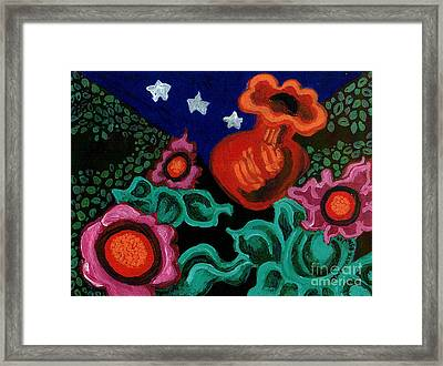 Fowers At Night Framed Print by Genevieve Esson