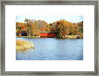 Fowler Lake And Covered Bridge Framed Print by Franklin Conour