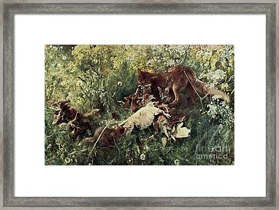 Fox Family Framed Print by Pg Reproductions