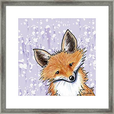 Fox On Lavender Framed Print by Kim Niles