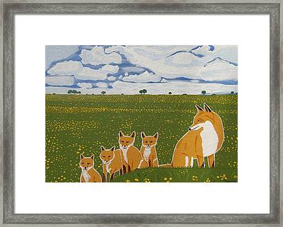 Foxes In The Countryside Framed Print