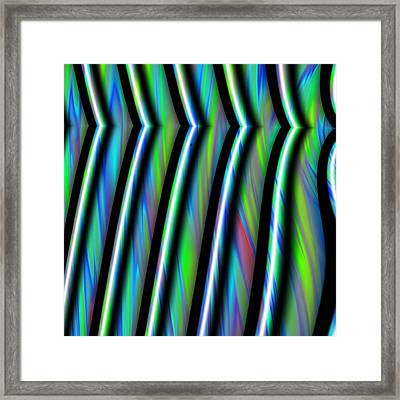Fractal Abstract Stripes Framed Print by Gina Lee Manley