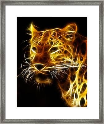 Fractal Leopard Framed Print by Wade Aiken