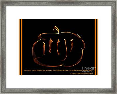 Fractal Pumpkin With Quote Framed Print by Renee Trenholm