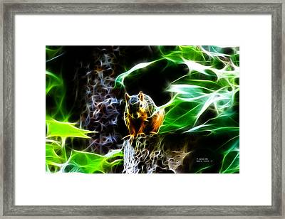Fractal - Sitting On A Stump - Robbie The Squirrel - 2831 Framed Print