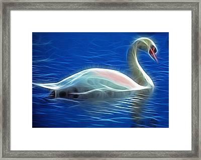 Fractal Swan  Framed Print by Steve Ohlsen