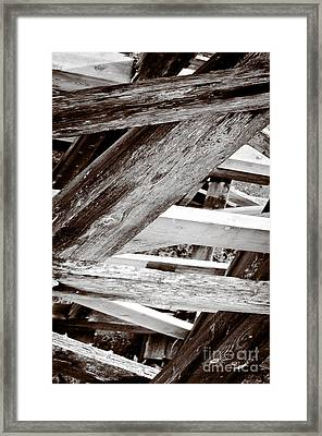 Framework Kinsol Trestle Wooden Frame In Abstract Black And White Framed Print by Andy Smy