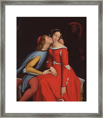 Francesca Da Rimini And Paolo Malatestascene  Framed Print by jean Auguste Dominique Ingres