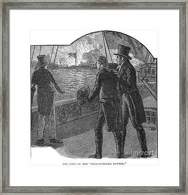 Francis Scott Key (1779-1843). American Lawyer And Poet. Witnessing The Bombardment Of Fort Mchenry, September 13-14, 1814: Wood Engraving, American, 1885 Framed Print by Granger