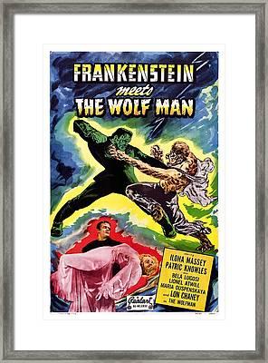 Frankenstein Meets The Wolf Man, Bottom Framed Print by Everett